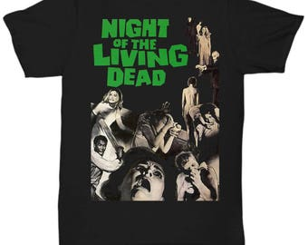 Night Of The Living Dead Horror Zombie Splatter George Romero shirt Tee T-shirt  S - 5XL  Black