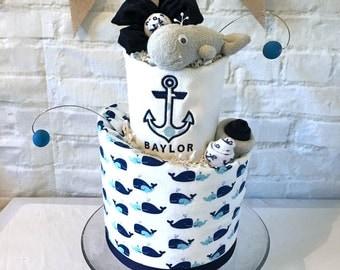 Nautical diaper cake, Whale diaper cake, Ahoy it's a boy, Nautical baby shower centerpiece, Whale baby shower, Nautical baby shower decor