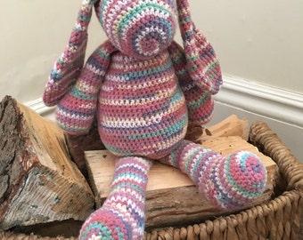 Crochet animal rabbit pink handmade, purple and blue