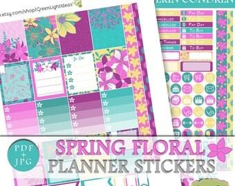 Floral Erin Condren Planner Stickers, Spring Printable Sticker Erin Condren, Flower Sticker Kit Digital, March Planner Weekly Kit Digital