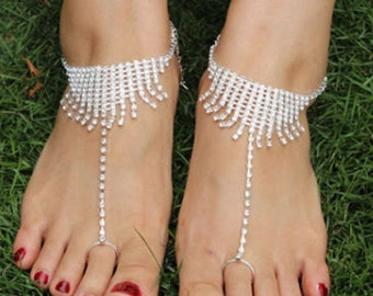 Pair of Fringe Diamante Barefoot Sandal Anklets BJ6009i