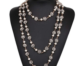 Luxury Triple Layer Golden Crystal & Pearl Statement Necklace NK7015