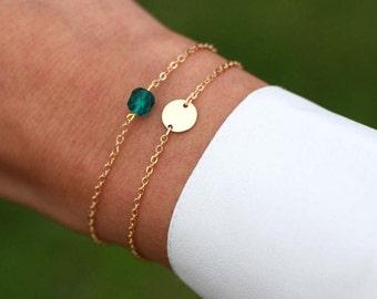 Dainty Initial Bracelet Set, Delicate Personalized (or blank) Disk Bracelet, Tiny Disc Bracelet Set, Layering Bracelets, May Birthstone