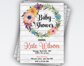 CUSTOM, Rustic Baby Shower Invitation Girl baby shower invitation Floral baby shower invites Baby girl Watercolor Its a girl #22