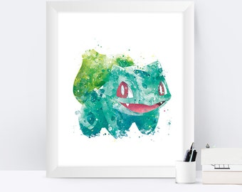 Pokemon Bulbasaur Watercolor Printable Art Pokemon Decor Poster Print Pokemon Gift Bulbasaur Print Pokemon Go Birthday