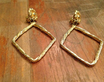 Vintage Clip On Earrings with Large Diamond Shape, Gold Toned, Flower