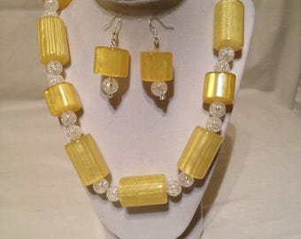 Yellow Ice Necklace Earring Set