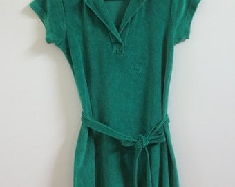 Caprina Emerald-Green Velour Dress Made in Montreal