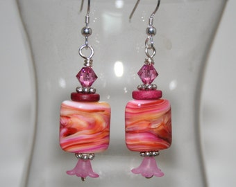 pink lampwork bead earrings