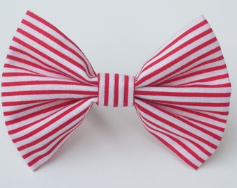 Red and White Striped Bow Tie- All Sizes