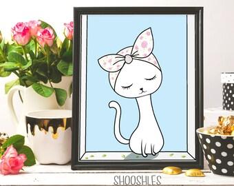 Pussy cat, Cat drawing, Cat print wall decor, Cat print, Cat illustration, Cat printable art, Nursery wall art, Cat wall art, Nursery print