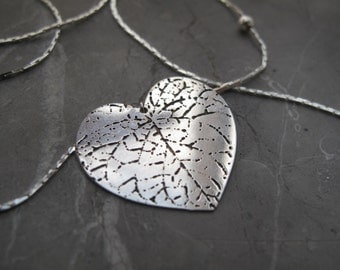 Heart Leaf Necklace, Silverplated Brass