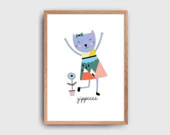 Scandinavian Kitty Yippee Children's Wall Art Printable: INSTANT DOWNLOAD
