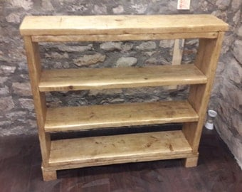 Handmade wooden bookcase shelf rustic reclaimed wood