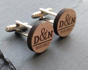 Custom Cufflinks, Wedding Cufflinks, Groom Cufflinks, Mens Cufflinks, Groomsmen Cufflinks, Personalized Cufflinks, Wood Cufflinks