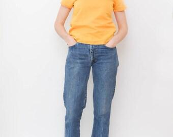 yellow cotton shirt blouse   80s t-shirt   basic top   minimalist short sleeve   layering shirt   summer tops   size medium