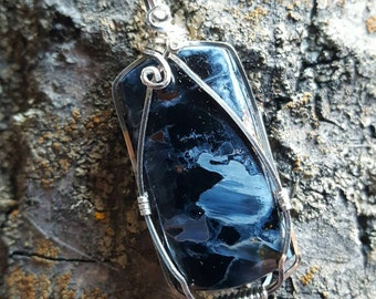 Wire Wrapped Blue Pietersite Pendant