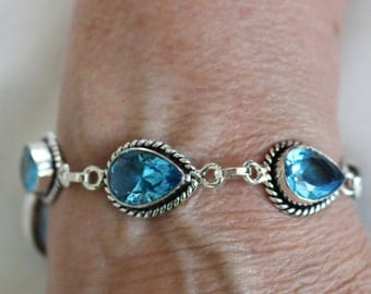 Blue Topaz Faceted Bracelet- 8 inches!