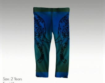 "Baby/Toddler Leggings by JRG Original Design - ""Big Blue Ellie"" in sizes: 6mo, 1yo, 2yo, 3yo (quick dry & antibacterial)"