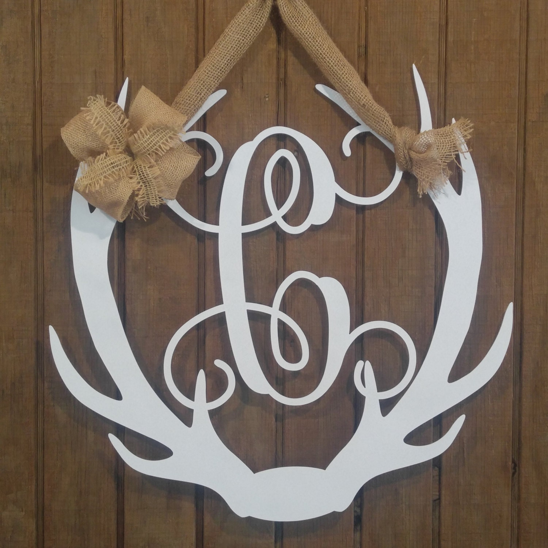 Antler wreath antler monogram antler decor antler door for Antler decoration