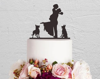 Wedding Cake Topper,Bride And Groom Cake Topper With Dog,Couple Cake Topper,Custom Cake Topper,Dog Cake Topper,Rustic Cake Topper