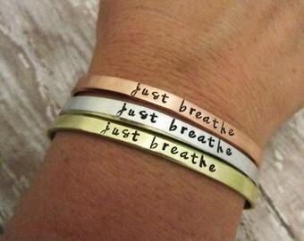 Just Breathe Bracelet - Yoga Bracelets - Adjustable Skinny Stacking Cuff - Hand Stamped Jewelry