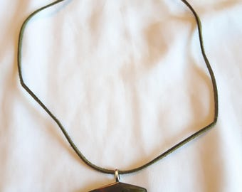Brown and green abstract form resin necklace