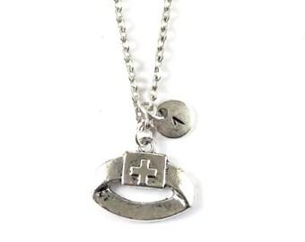 NURSE HEADDRESS charm necklace, silver nurse necklace, initial necklace, personalized necklace, initial jewelry, personalized jewelry, gift