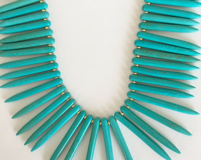 Turquoise necklace, statement necklace with Howlite turquoise gemstone