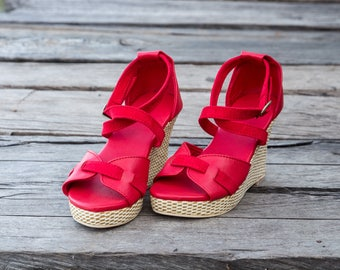 Women leather shoes / Red leather shoes / Wedge leather shoes / Wedges shoes / Wedge leather sandals