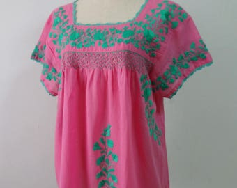 Short Sleeve Embroidered Mexican Blouse, Pink Top with Hand Embroidery, Mexican Top