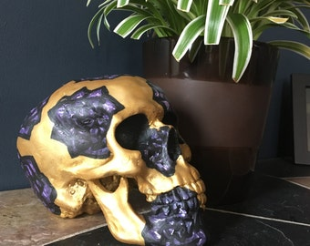 Purple and Gold Hand-Painted Skull Decor