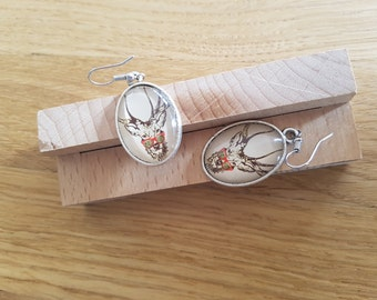 Deer with glasses - with reindeer wearing glasses Earrings earrings