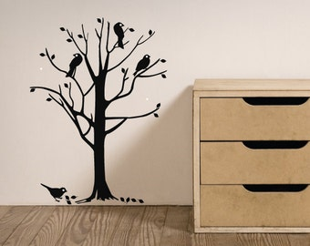 Birds In A Tree Large Nursery Wall Decal/Wall Art Sticker, Home Decor, Childrens