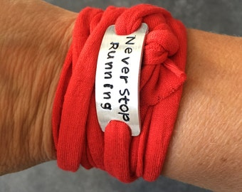 CordonByLn themed running, personalized jewelry stamped with your words and cord color of your choice