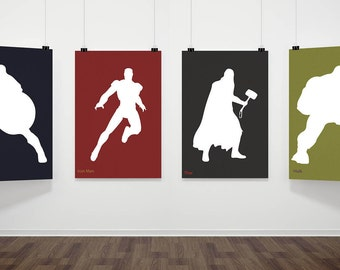 Avengers Inspired Poster Print - Captain America, Iron Man, Thor, Hulk | A2 Size-Resizable | 4 Set Digital Download | Printable | Minimalist