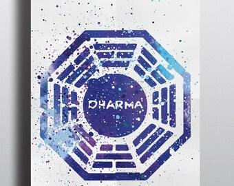 Lost Inspired Poster Print- Dharma Initiative | Watercolour Print | Watercolour Painting | Digital Download | Wall Art | TV Show Art