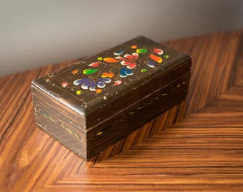 Vintage Floral Folk Art Wooden Jewelry Box