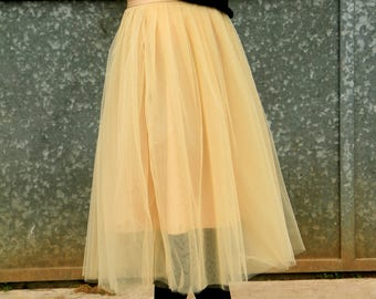 READY for Shipping - Beige midi skirt - Tulle skirt - TUTU skirt - Bridesmaid skirt - Beige skirt