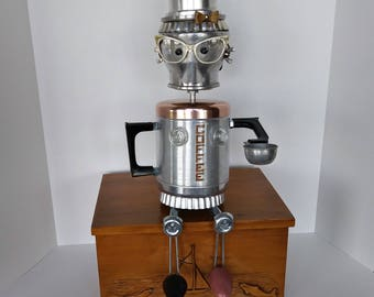 Coffee Bot - Found object Robot Assemblage - Steampunk Sculputure - Coffee Shop Decor - Barista - Cat Eye glasses