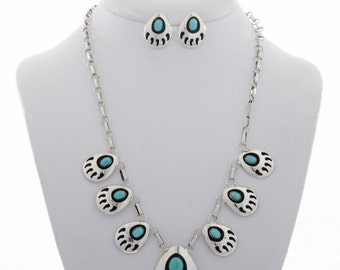 Navajo Silver Turquoise Necklace Earrings Set Bear Paw Design