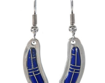 Blue Silver French Hook Earrings Southwest Sterling Dangles Lapis Inlaid