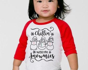 Girls Christmas Shirts, Chillin' With My Snowmies Raglan Tee, Cute Infant Girl Frosty The Snowman Tee, Homies Shirt, Kids Clothing