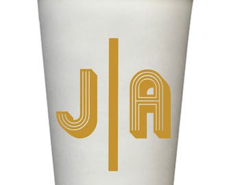 Personalized Disposable Coffee Cups, 20 oz, Monogrammed, Custom, Modern