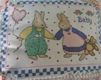 Bunny Family Completed Cross-stitch