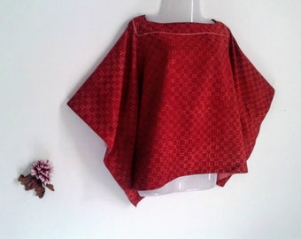 Minimalist mini short Kaftan/Hand block/Ajrakh print/India/Boheme/Tunic/Free size/Boho/terracotta/blouse/cotton/Made in India