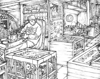 "Black and white illustration ""Workshop"""