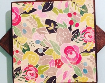 Spring Floral  -Wooden Coasters