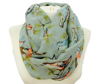 Bird infinity scarf, womens scarf, gift for her, winter scarf, bird scarf, loop scarf, circle scarf, scarves, bird print infinity scarf
