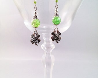 "Silver earrings ""Green clover"""
